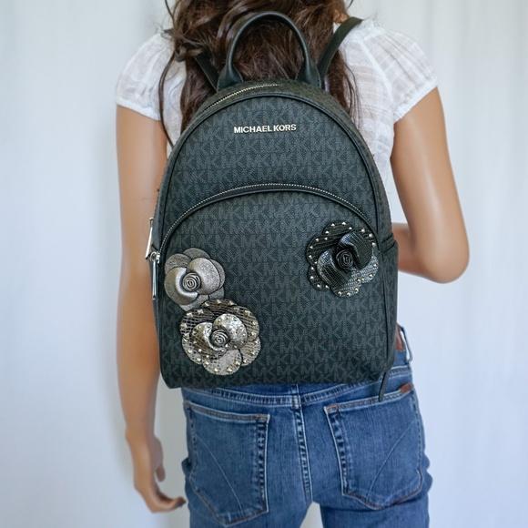 5ab9307e245375 Michael Kors Bags   Abbey Md Backpack Black Mk Sig Floral   Poshmark